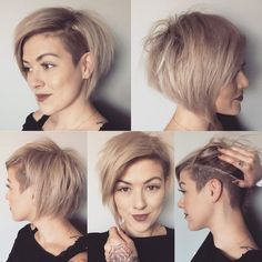 First time I've completely reshaped and cut my hair myself! Short Hair Undercut, Short Hair Cuts, Short Pixie, Pixie With Undercut Shaved Sides, Bob Haircut With Undercut, Bob With Shaved Side, Side Undercut, Shaved Undercut, Undercut Styles