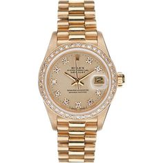 1STDIBS.COM Jewelry & Watches - ROLEX - ROLEX Ladies Vintage Diamond &... ❤ liked on Polyvore featuring jewelry, watches, accessories, bracelets, diamond jewelry, gold jewellery, rolex watches, gold watches and rolex wrist watch
