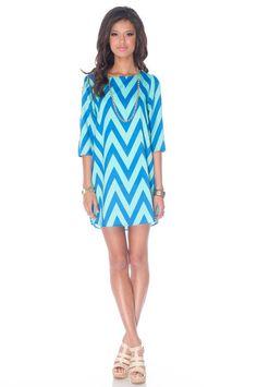 Zazie Shift Dress in Blue and Aqua :: tobi. Love the blue zig zag print.