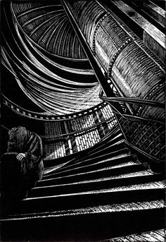 ARTFINDER: Descent by Rebecca Coleman - A wood engraving depicting the spiral staircase inside the abandoned Aldwych Tube station in central London. Also available mounted in a bespoke frame (on re. Woodcut Art, Linocut Prints, Illustration Pen And Ink, Engraving Art, Collagraph, Scratchboard, London Art, Light Art, Prints For Sale