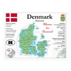 Map OF Denmark with facts Postcard - postcard post card postcards unique diy cyo customize personalize