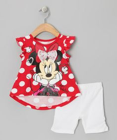 Take a look at this Red Polka Dot Lace Minnie Top & Shorts - Infant & Toddler by Disney on #zulily today!