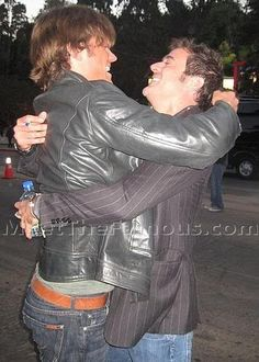 Jared Padalecki & Jeffrey Dean Morgan--nobody escapes Jared's hugs!  I love how everyone are such good friends on the show! I LOVE this.