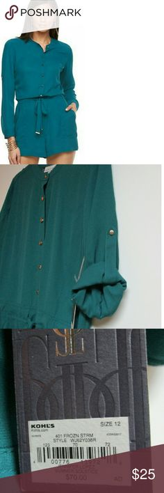 NWT Jennifer Lopez Green Romper Make a statement in this Summer Solstice romper by Jennifer Lopez. Mandarin Collar, roll tab long sleeves, drawstring waist and  gold button accents. Lovely green color. NWT Jennifer Lopez Pants Jumpsuits & Rompers