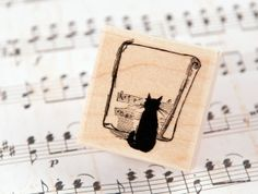 Jazzy Cat  Wood Mounted Rubber Stamp by redfinchstudio on Etsy, $5.99