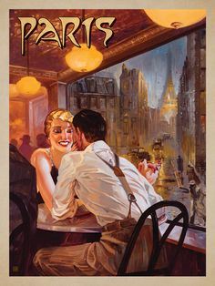 Paris When it Rains - This series of romantic travel art is made from original oil paintings by artist Kai Carpenter. Styled in an Art Deco flair, this adventurous scene is sure to bring a smile and a smooch to any classic poster art lover!<br />