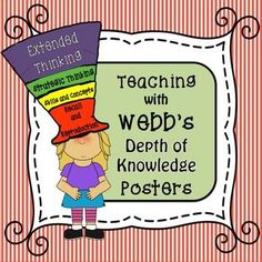 Webb's Depth of Knowledge, Webb's DOK,  Posters, Thinking, Question Strategies,