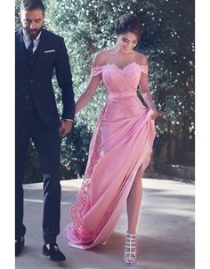 Vintage Off Shoulder A Line Candy Pink Chiffon Said Mhamad Prom Dress