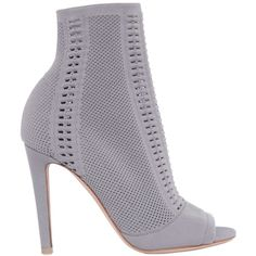 Gianvito Rossi Women 100mm Stretch Knit Open Toe Booties ($1,025) ❤ liked on Polyvore featuring shoes, boots, ankle booties, grey, grey boots, grey booties, gray high heel boots, slip on boots and pull on boots