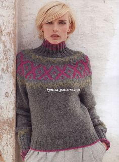 Yoke pullover, FREE pattern. This Norwegian-style pullover focuses on the contrast of classic gray and bold, trending colors. The slim turtleneck is sexy and draws attention to the face. (1/2) (hva)