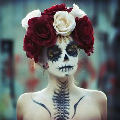 Stunning sugar skull makeup + the makeup on the neck would make a sweet tattoo