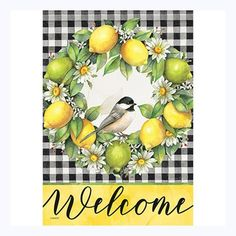 The delicious looking wreath shown on this delightful looking garden flag is cleverly created using lemons, limes and white daisies against a black and white, plaid gingham background.