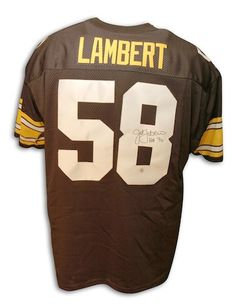 ddfbf4b1b Autographed Jack Lambert Pittsburgh Steelers Throwback black Jersey HOF  inscription - APE COA