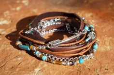 Boho Endless Leather Wrap Bracelet  Suede Silver by fleurdesignz
