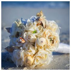 seashell bridal bouquet destin florida by Princess Wedding Co