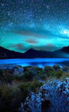 beautiful blue starry sky