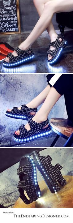 Creative Shoes, Light Up Shoes, Led Night Light, Color Change, Sandals, Colors, Collection, Design, Women