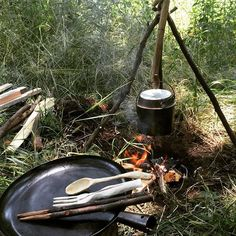 Campsite with whittled untensils