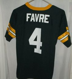 VINTAGE BRETT FAVRE LOGO 7 GREEN BAY PACKERS NFL JERSEY YOUTH LARGE