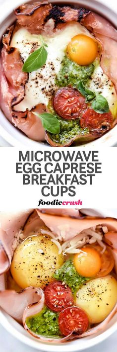 This hot homemade ham, egg and caprese-flavored breakfast can be in yo� belly in just two minutes thanks to a quick cook in the microwave. Yes, this is how you can easily cook eggs in the microwave.   foodiecrush.com #recipes #caprese #egg #tomatoes #pest