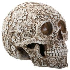 White and Light Brown Floral Human Skull Figurine: SS-Y-8376 #StealStreet LOVE THIS, Flower, Girly, Feminine, Chic, Edgy, Punk, Skeleton, Skull, Bones, Halloween, Decoration, Vintage, Flowers