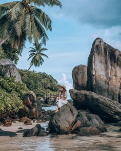 Enjoying the scenery of the Seychelles Islands Photo by: (IG) Seychelles Islands, Another World, Palm Trees, Granite, Beaches, Mount Rushmore, Paradise, Scenery, Coconut