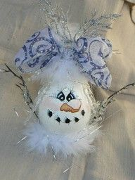 Upcycled Recycled Lightbulb Snow Lady Christmas Winter Decoration snowman