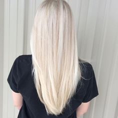 """""""First time highlights for this beauty, she wanted to be a brighter, icy blonde…"""