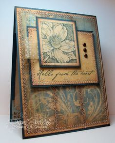 lovely handmade card ... like the browns and blues and the design of this card ...