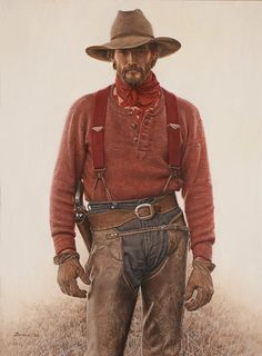 """""""James Bama Hunting camp wrangler"""" Outfit idea for John Marston. Westerns, Cowboy Pictures, The Lone Ranger, West Art, Cowboys And Indians, Bd Comics, Western Movies, Le Far West, Cowboy And Cowgirl"""