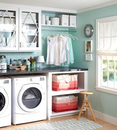 Adding a place to hang-dry clothes is a genius way to use your space: http://www.bhg.com/rooms/laundry-room/storage/laundry-room-storage-and-labels/?socsrc=bhgpin071314functionwithflair&page=2
