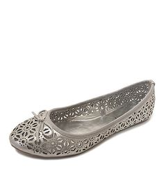 Look what I found on #zulily! Silver Laser Cutout Ballet Flat by OLIVIA MILLER #zulilyfinds