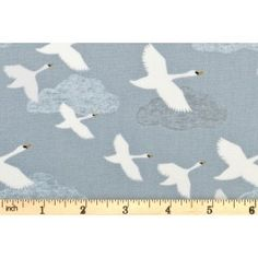 Lewis and Irene - Down by the River - Swans in Flight - Pale Grey/Blue (A221.1)