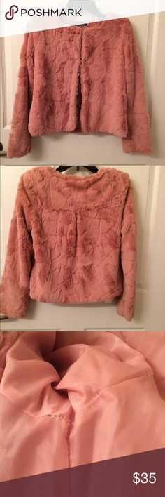 EUC Faux Fur Jacket/Coat XS Excellent condition. Color: Peach. Check third picture for flaw. Lose stitching but can be fixed easily and doesn't affect anything. Really cute. Feel free to ask any questions. No trades please. Perfect  Jackets & Coats