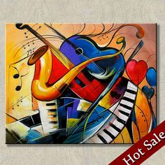 Cheap musical instruments painting abstract painting art painting oil painting high quality warm living room decorative frame painted artwork photos, Buy Quality Painting and Calligraphy directly from China Suppliers: Size cm inches) Arte Jazz, Jazz Art, Decoration Photo, Decoration Pictures, Music Painting, Painting Art, Paintings, Abstract Canvas Art, Painting Abstract