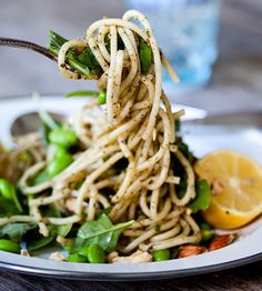 pesto pasta with edamame and spinach