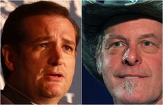 Ted Cruz Stands Up For Hateful Racist Ted Nugent. The same coward who crapped his pants at the thought carrying an automatic weapon for his country to defend the rights he whines like a little bitch to protect now !!!