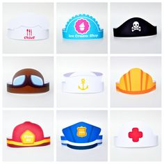 Set consists of 10 paper hats with different images, characters and professions such as: • Chef • Seller • Sheriff • Pilot • Sailor • Policeman •