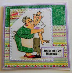 Art Impressions Rubber Stamps: LOVE BIRDS AiCS27 (at Hobby Lobby)... Handmade birthday or anniversary card.