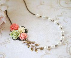 Flower Leaf Bird Pearl Collage Necklace. Orange Pink Green Ivory Flowers, Swallow Bird, Leaf, Ivory Pearl Necklace. Wedding Bridal Necklace