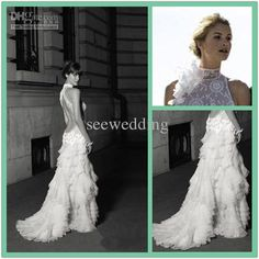 Wholesale Splendid 2013 Sexy Fitted Halter Beads Appliques Lace Tiered Tulle Skirt Backless Wedding Gowns Unique Wedding Dresses Fashion Bridal Dress, Free shipping, $225.0/Piece | DHgate