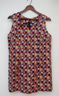 Vintage Dress 60s Handmade Squares Floral by PinkCheetahVintage, $25.89