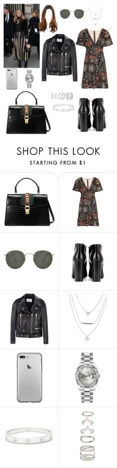 """""""Attend Paris Fashion Week with Olivia Palermo)"""" by tinateva ❤ liked on Polyvore featuring Gucci, Alice + Olivia, Ray-Ban, Burberry, Acne Studios, Rolex, Cartier and Forever 21"""