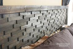wood shim headboard - closeup