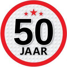50 jaar sticker rond. Een leuke ronde sticker met een diameter van ongeveer 14,8 cm. Fun en Feest 50 jaar feestartikelen.