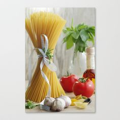 delicious pasta Stretched Canvas by Tanja Riedel - $85.00