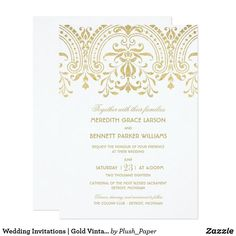 Elegant vintage inspired wedding invitations feature a champagne gold colored ornate decorative border design that is printed with a metallic shimmer appearance. Gold Wedding Invitations, Vintage Wedding Invitations, Wedding Invitation Wording, Zazzle Invitations, Bridal Shower Invitations, Invitation Cards, Vintage Glamour Wedding, Vintage Bridal, Champagne Gold Color