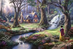 fantasy Art, Fairies, Thomas Kinkade, Painting, Trees, Flowers, Stream, House, Waterfall, Bridge, Lights, Castle, Forest, Animals, Deer, Path, Rabbits, Sun Rays, Artwork, Snow White Wallpaper