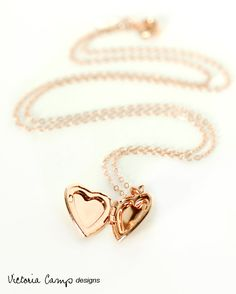 Rose Gold Heart Locket Necklace Tiny Puffy by VictoriaCampAllison