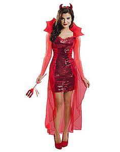 Red Hot Devil Womens Costume - You'll be one hot commodity in the Red Hot Devil Women's Costume. This fiery get-up features a tight sequined dress with a chiffon flowing cape attach Joker Halloween Costume, Halloween Fancy Dress, Halloween Costumes For Girls, Costumes For Women, Spirit Halloween, Halloween Party, Tween Costumes, Ghost Costumes, Halloween Stuff